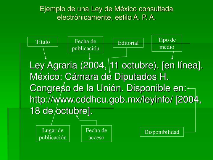 Ejemplo de una Ley de México consultada electrónicamente, estilo A. P. A.