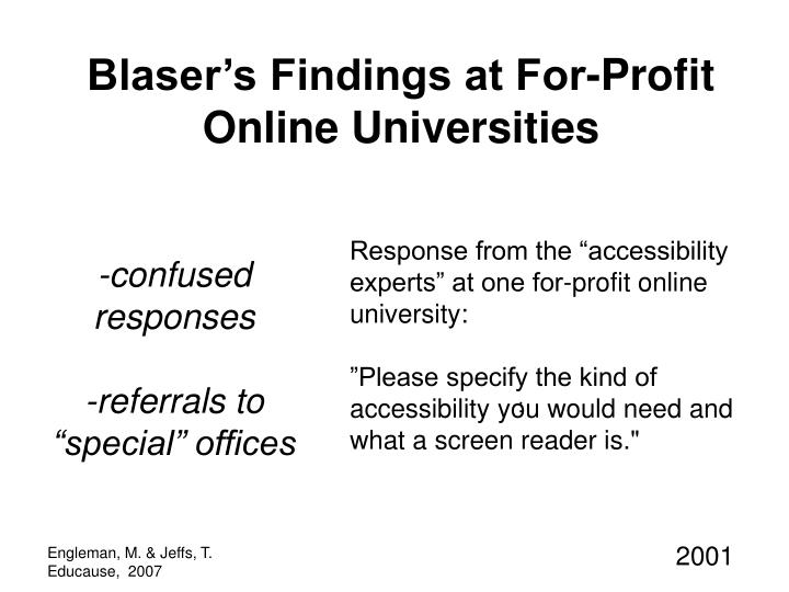 Blaser's Findings at For-Profit Online Universities