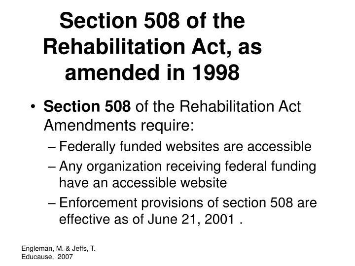 Section 508 of the Rehabilitation Act, as amended in 1998