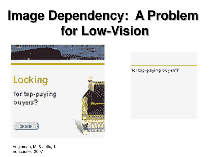 Image Dependency:  A Problem