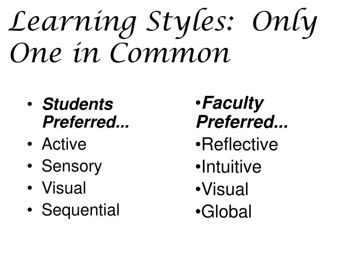 Learning Styles:  Only One in Common