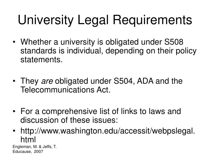 University Legal Requirements