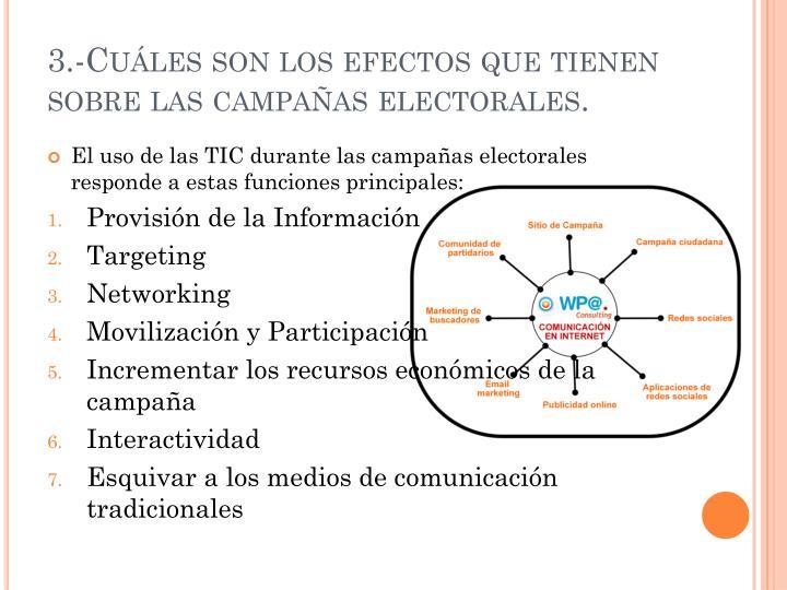 3.-Cuáles son los efectos que tienen sobre las campañas electorales.