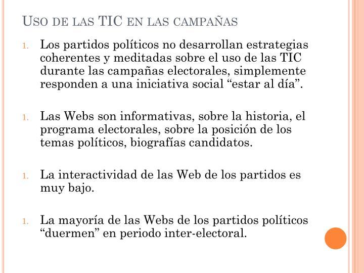 Uso de las TIC en las campañas