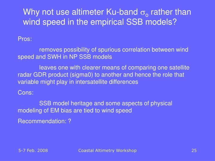 Why not use altimeter Ku-band