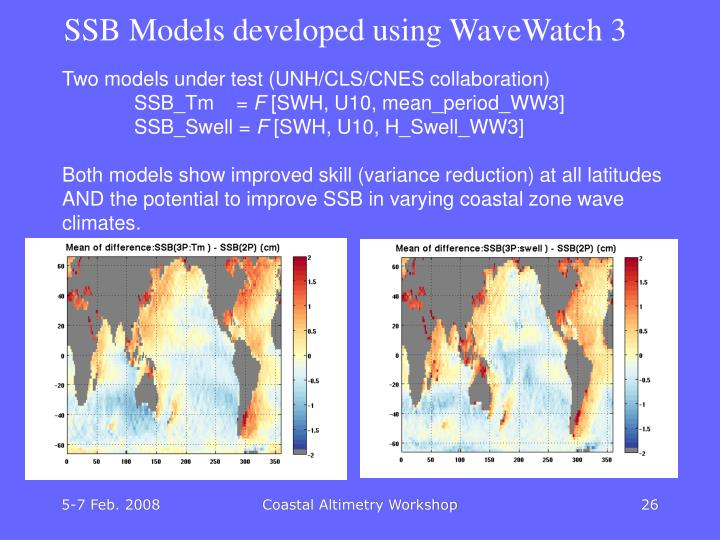 SSB Models developed using WaveWatch 3