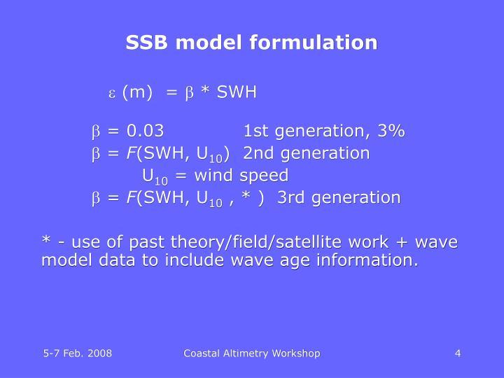 SSB model formulation
