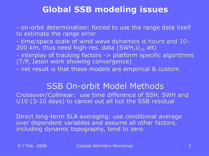 Global SSB modeling issues