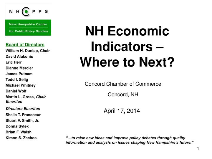 Nh economic indicators where to next