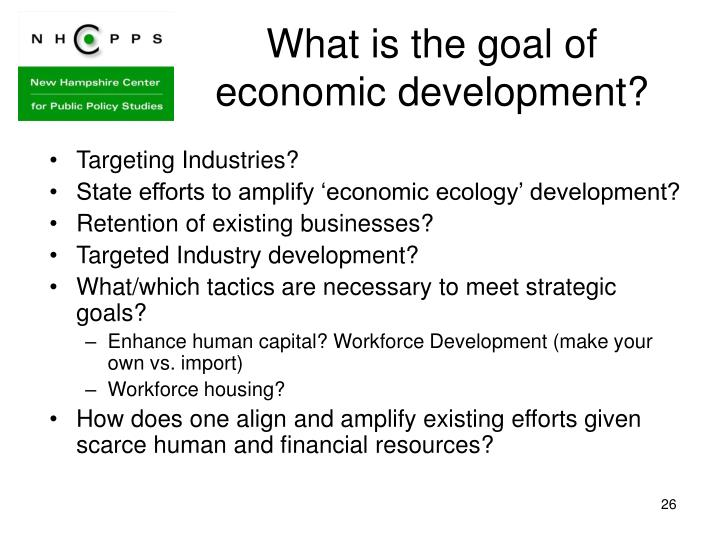 What is the goal of economic development?