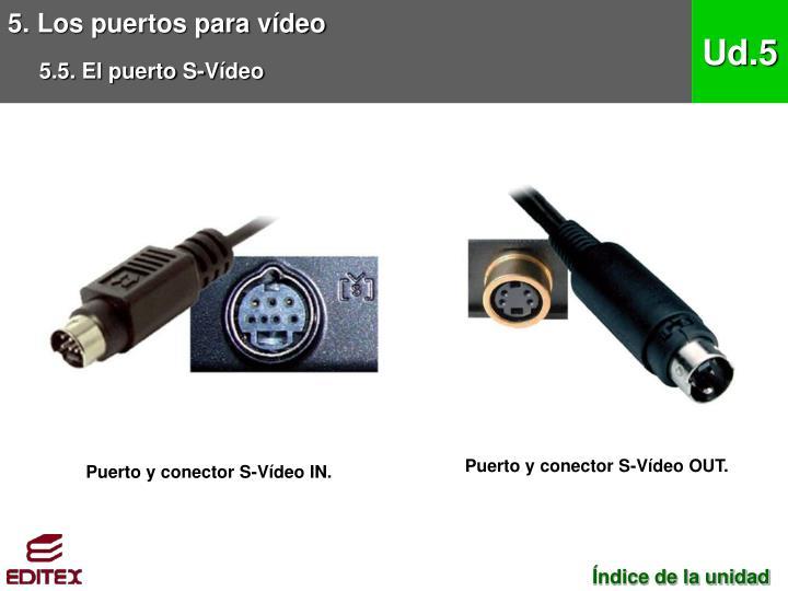 5. Los puertos para vídeo