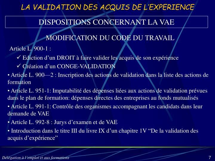 LA VALIDATION DES ACQUIS DE L'EXPERIENCE