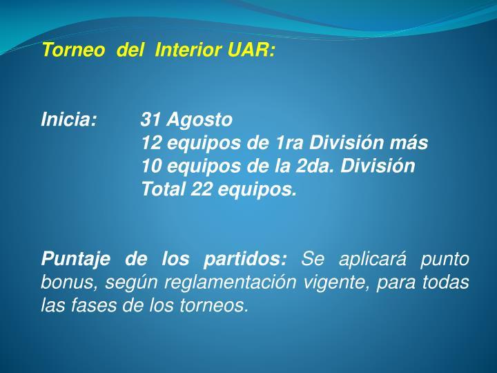 Torneo  del  Interior UAR: