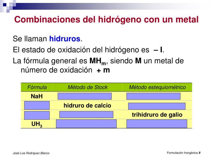Combinaciones del hidrógeno con un metal
