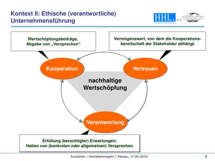 Kontext II: Ethische (verantwortliche) Unternehmensführung