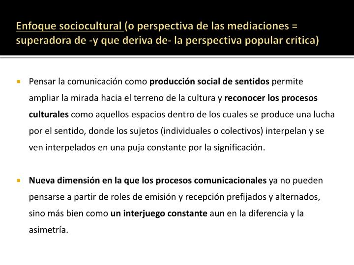 Enfoque sociocultural