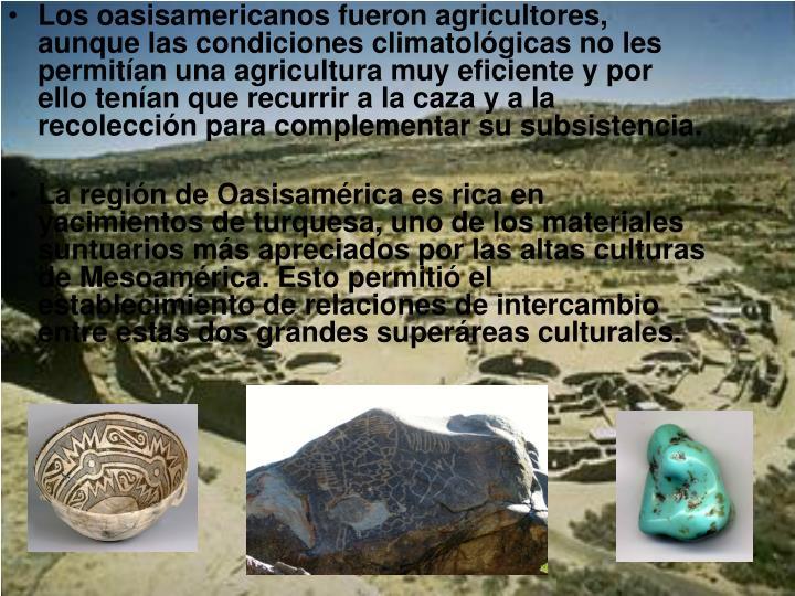 Los oasisamericanos fueron agricultores, aunque las condiciones climatológicas no les permitían una agricultura muy eficiente y por ello tenían que recurrir a la caza y a la recolección para complementar su subsistencia.