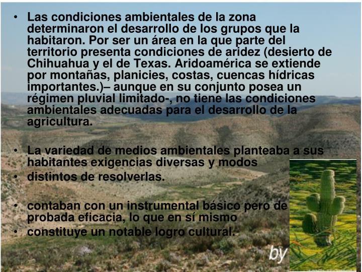 Las condiciones ambientales de la zona  determinaron el desarrollo de los grupos que la habitaron. Por ser un área en la que parte del territorio presenta condiciones de aridez (desierto de Chihuahua y el de Texas. Aridoamérica se extiende por montañas, planicies, costas, cuencas hídricas importantes.)– aunque en su conjunto posea un régimen pluvial limitado-, no tiene las condiciones ambientales adecuadas para el desarrollo de la agricultura.