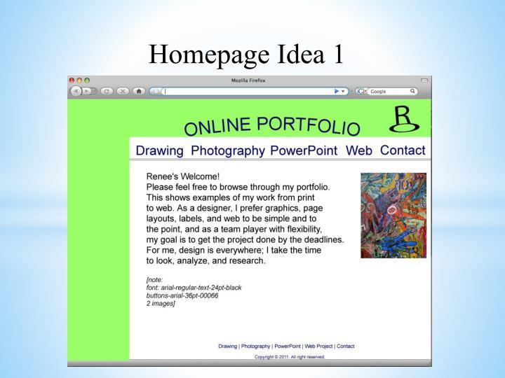 Homepage Idea 1