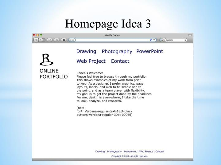 Homepage Idea 3