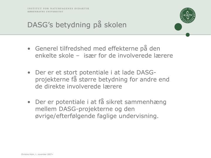 DASG's betydning på skolen
