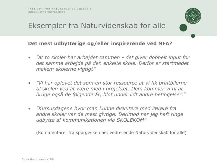 Eksempler fra Naturvidenskab for alle