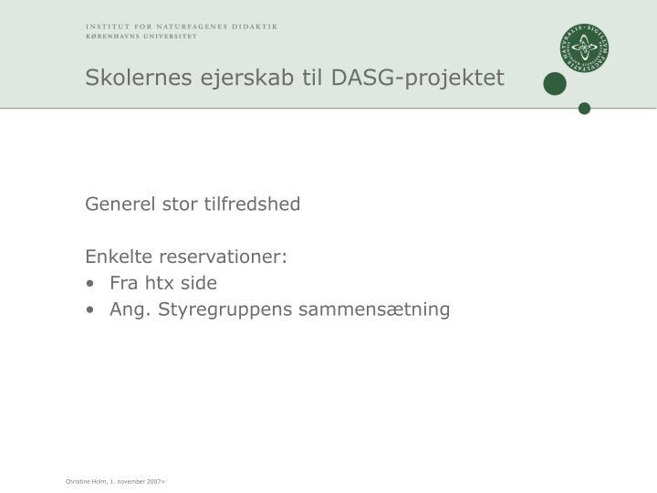 Skolernes ejerskab til DASG-projektet