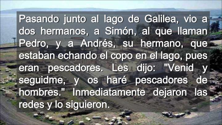 """Pasando junto al lago de Galilea, vio a dos hermanos, a Simón, al que llaman Pedro, y a Andrés, su hermano, que estaban echando el copo en el lago, pues eran pescadores. Les dijo: """"Venid y seguidme, y os haré pescadores de hombres."""" Inmediatamente dejaron las redes y lo siguieron."""