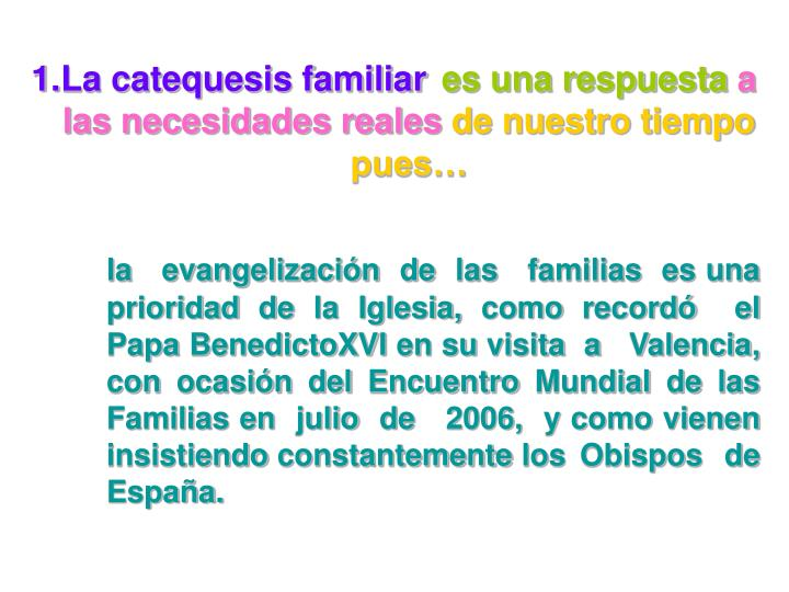 La catequesis familiar