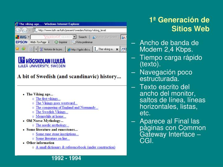 1ª Generación de Sitios Web