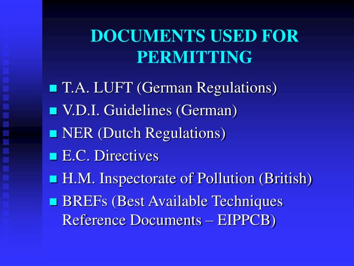 DOCUMENTS USED FOR PERMITTING