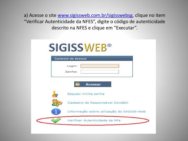 a) Acesse o site