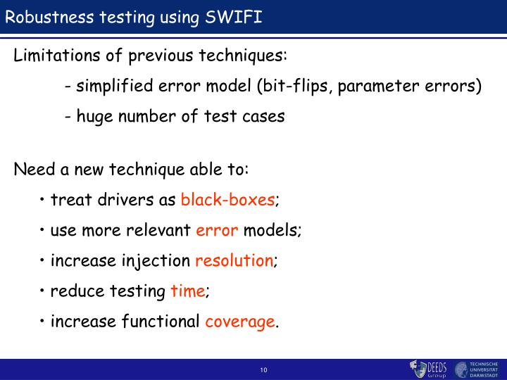 Robustness testing using SWIFI