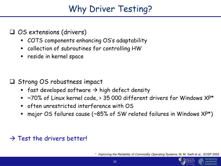 Why Driver Testing?
