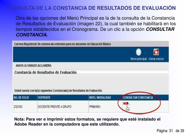 CONSULTA DE LA CONSTANCIA DE RESULTADOS DE EVALUACIÓN