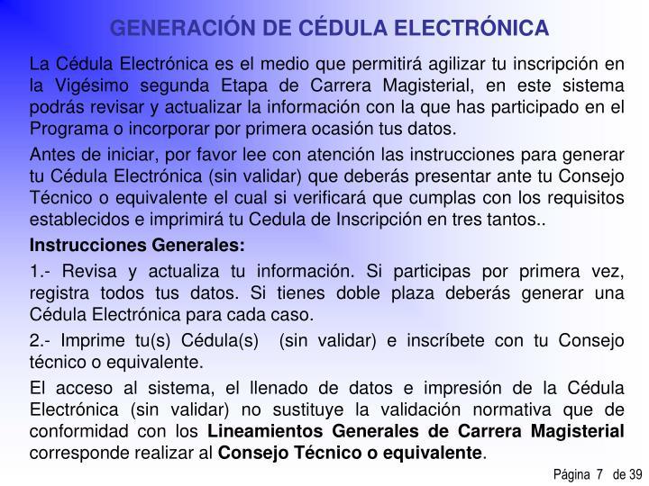 GENERACIÓN DE CÉDULA ELECTRÓNICA
