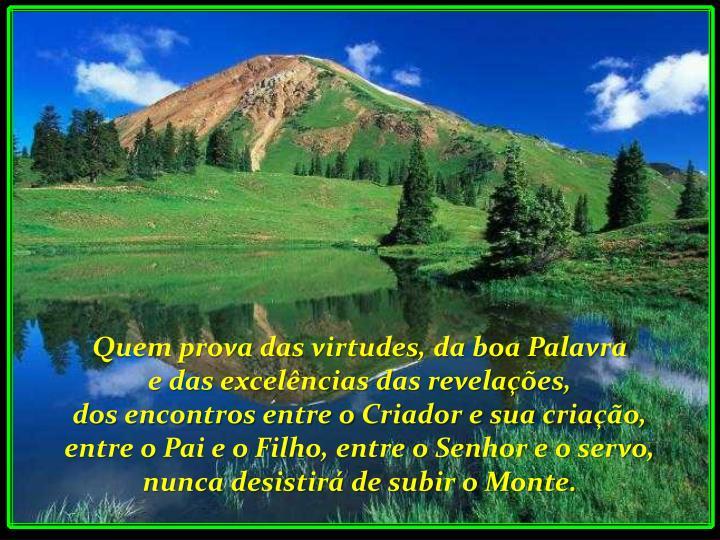 Quem prova das virtudes, da boa Palavra