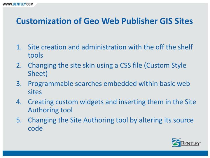 Customization of Geo Web Publisher GIS Sites