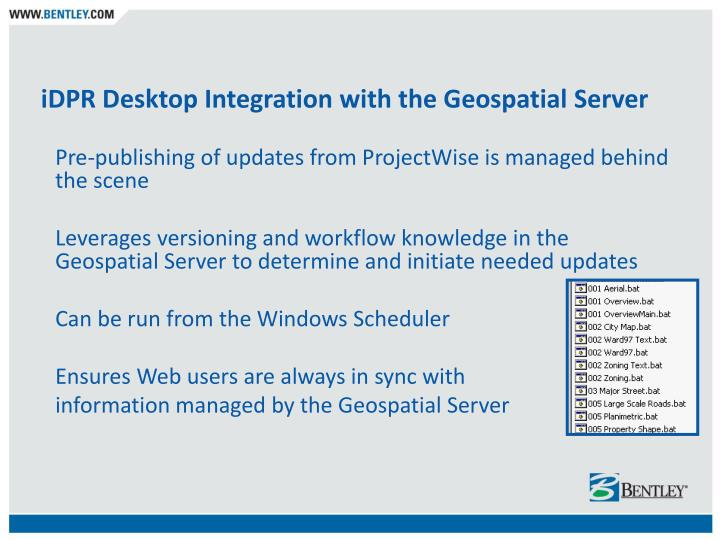 iDPR Desktop Integration with the Geospatial Server
