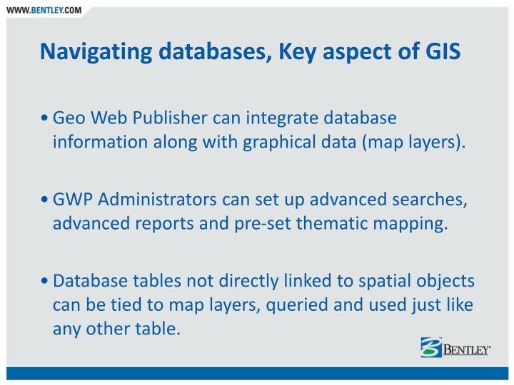 Navigating databases, Key aspect of GIS