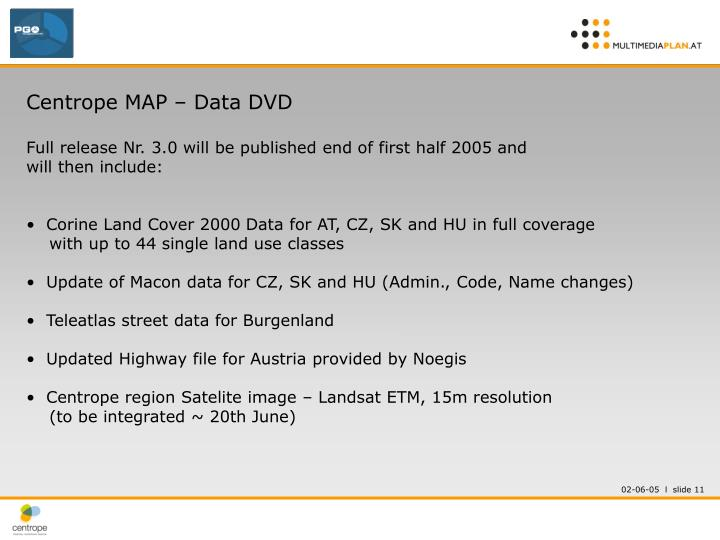Centrope MAP – Data DVD
