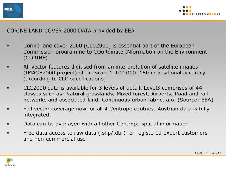 CORINE LAND COVER 2000 DATA provided by EEA