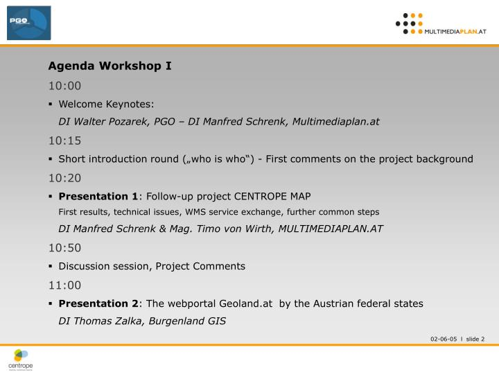 Agenda Workshop