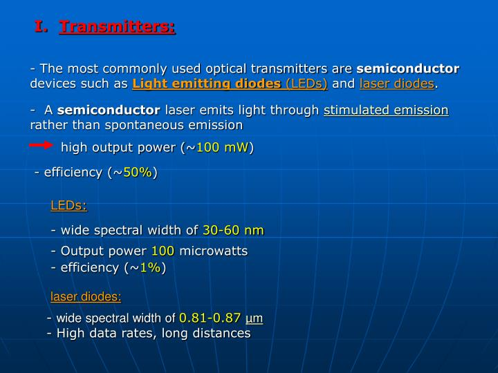 Transmitters: