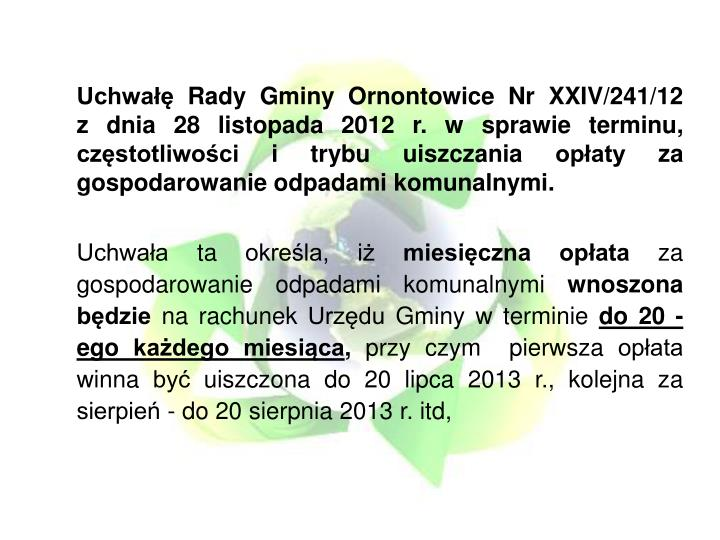 Uchwałę Rady Gminy Ornontowice Nr XXIV/241/12