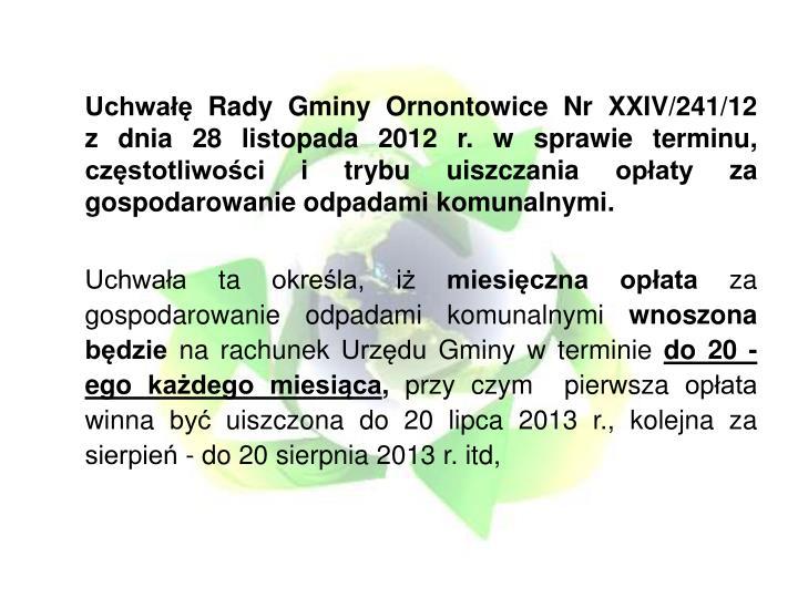 Uchwa Rady Gminy Ornontowice Nr XXIV/241/12
