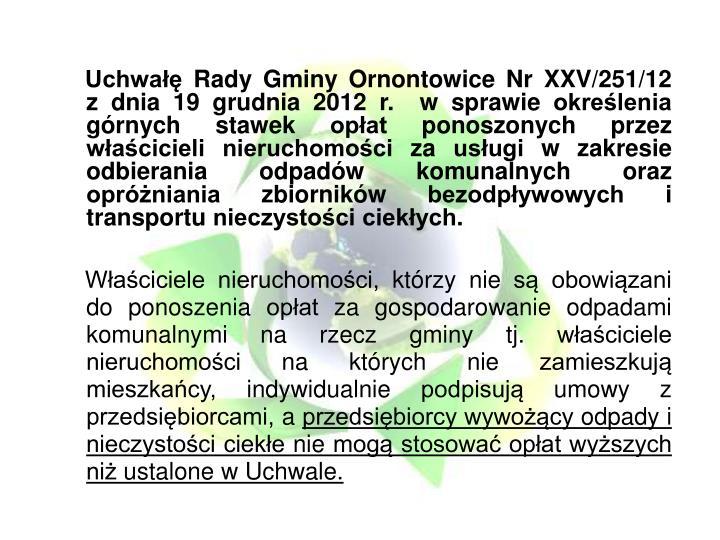 Uchwałę Rady Gminy Ornontowice Nr XXV/251/12