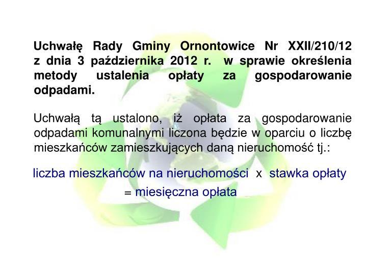 Uchwałę Rady Gminy Ornontowice Nr XXII/210/12