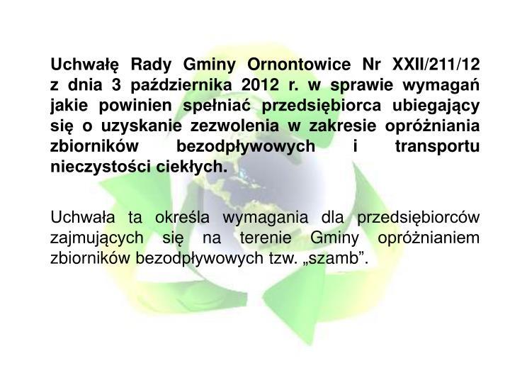 Uchwałę Rady Gminy Ornontowice Nr XXII/211/12
