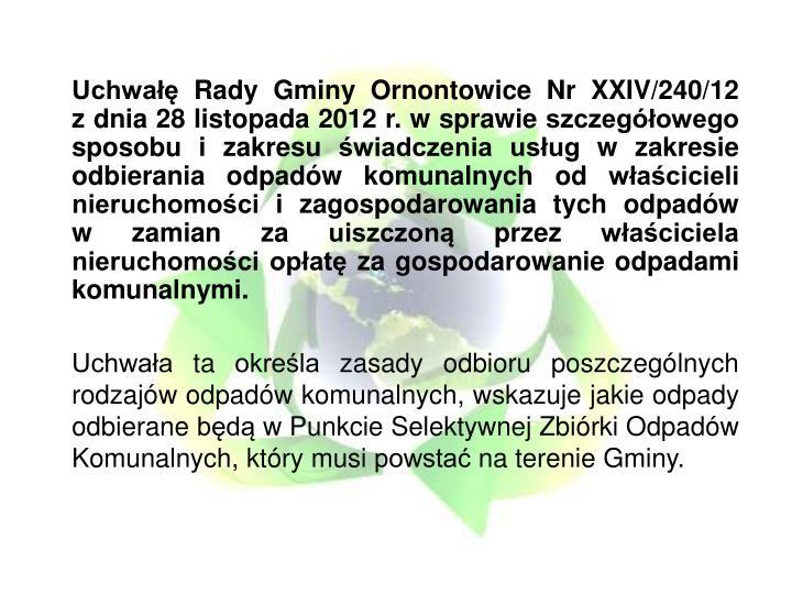 Uchwałę Rady Gminy Ornontowice Nr XXIV/240/12